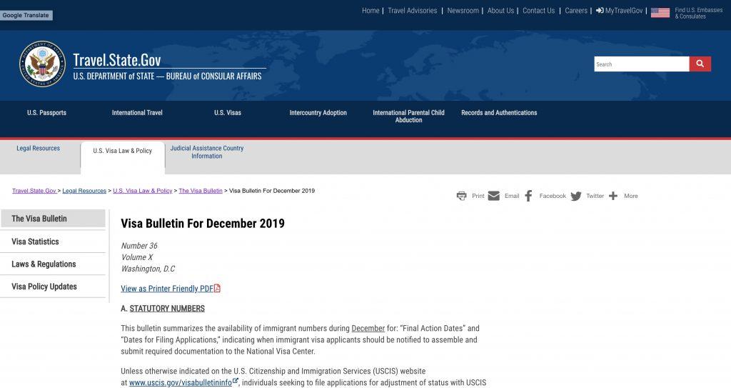 Bản tin Visa Bulletin Mỹ tháng 12/2019