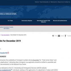 Bản tin thị thực Mỹ visa bulletin tháng 12/2019: diễn biến trước ngày thay đổi chương trình EB-5