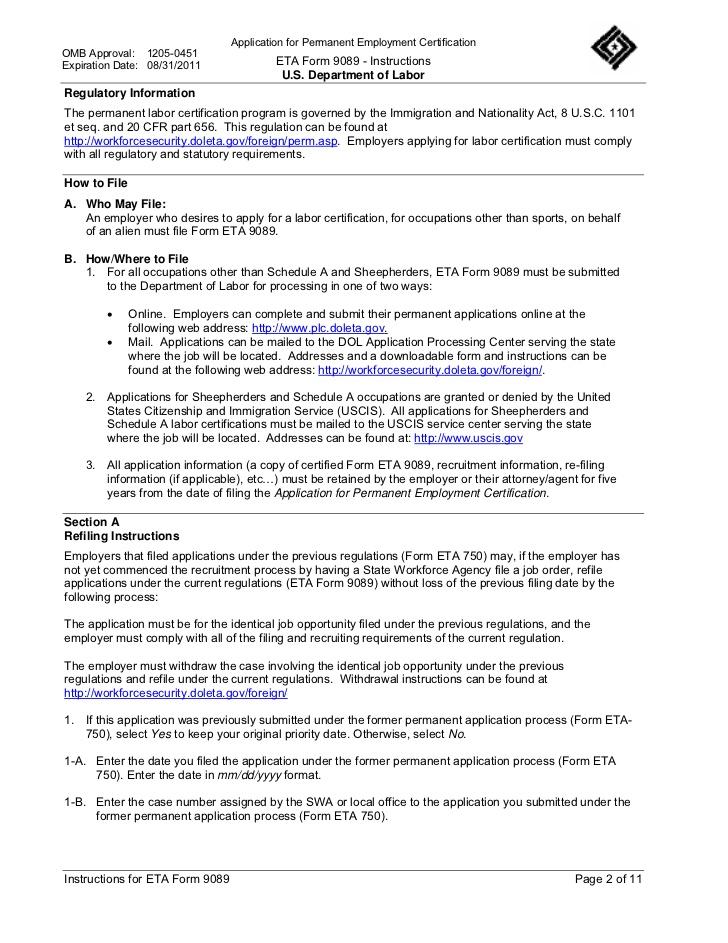 Mẫu đơn ETA 9080 xin giấy phép lao động PERM của USCIS