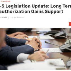 Việc ủy quyền dài hạn chương trình EB-5 được nhiều nghị sĩ ủng hộ
